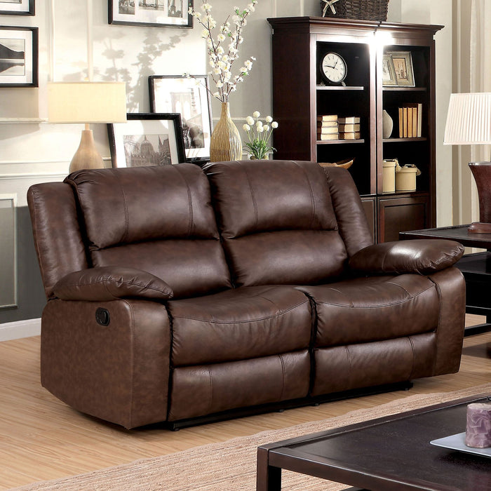 KRIS Brown Love Seat w/ 2 Recliners - Canales Furniture
