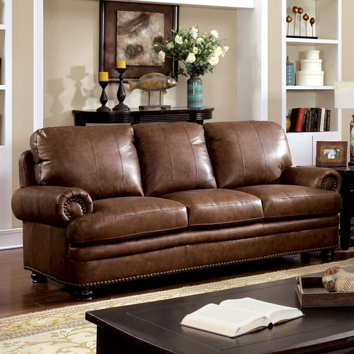 RHEINHARDT Brown Sofa, Brown - Canales Furniture