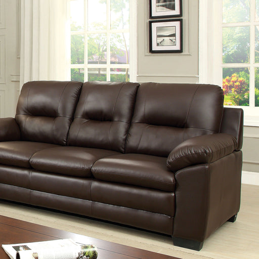 PARMA Brown Sofa, Brown Pu - Canales Furniture