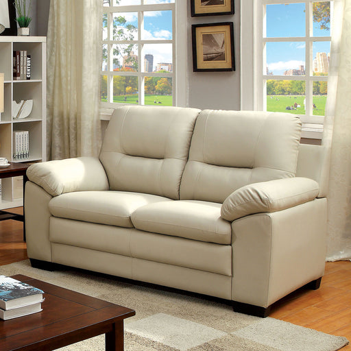 PARMA Warm Gray Love Seat, Ivory - Canales Furniture