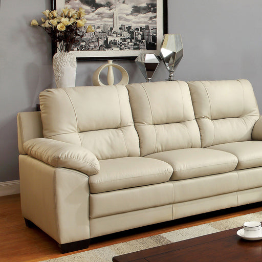PARMA Warm Gray Sofa, Ivory Pu - Canales Furniture