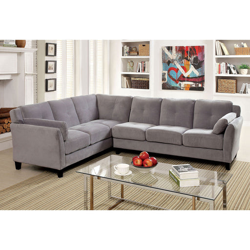 PEEVER II Warm Gray Sectional, Warm Gray (K/D) - Canales Furniture