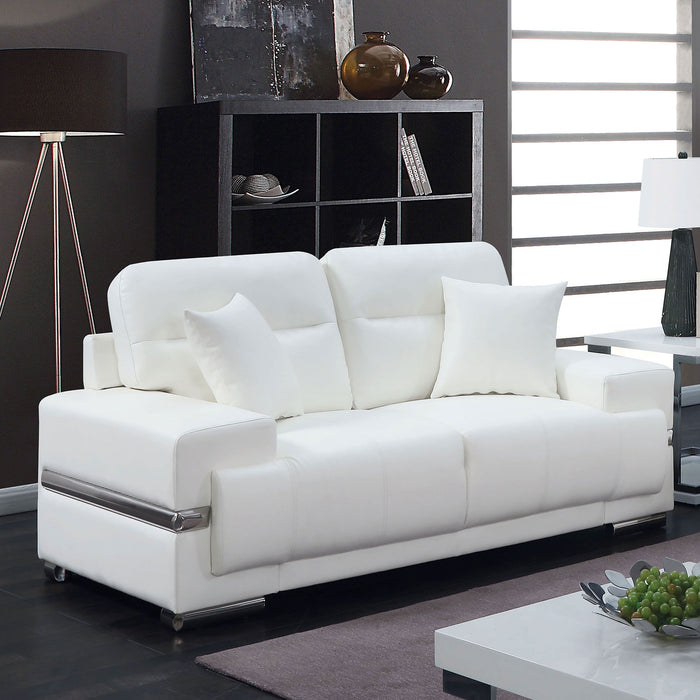 ZIBAK White/Chrome Love Seat, White - Canales Furniture