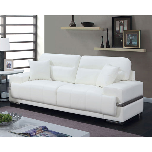 ZIBAK White/Chrome Sofa, White - Canales Furniture