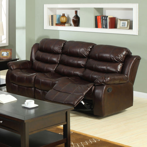 Berkshire Rustic Brown Sofa w/ 2 Recliners - Canales Furniture