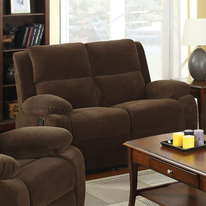 Haven Dark Brown Love Seat w/ 2 Recliners - Canales Furniture