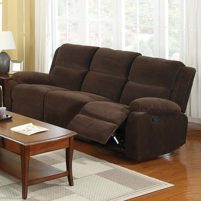 Haven Dark Brown Sofa w/ 2 Recliners - Canales Furniture