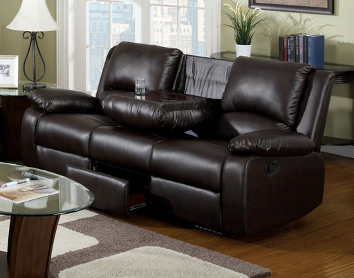Oxford Rustic Dark Brown Motion Sofa w/ Drop-Down Table - Canales Furniture