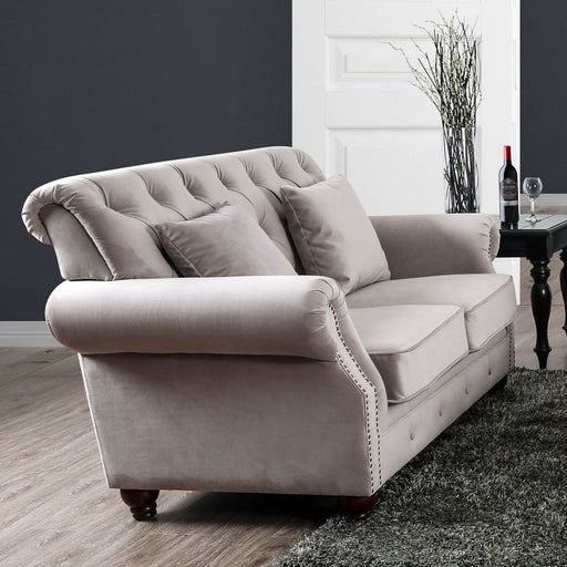 Tamika Warm Gray Love Seat - Canales Furniture