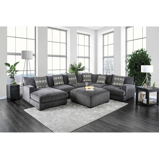 Kaylee Gray U-Shaped Sectional w/ Ottoman - Canales Furniture