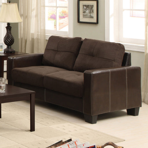 Laverne Chocolate/Espresso Love Seat, Chocolate - Canales Furniture