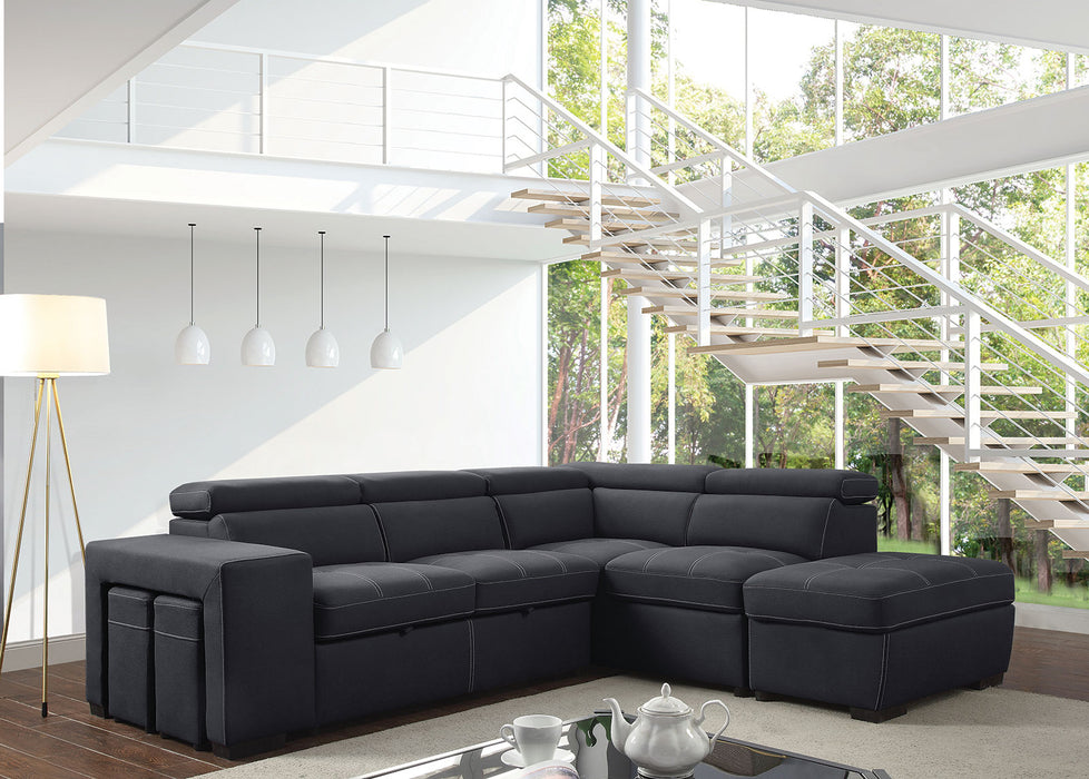 Athene Graphite Sectional - Canales Furniture