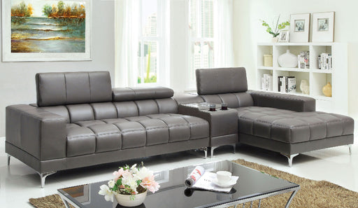 Bourdet II Gray Sectional + Speaker Console - Canales Furniture