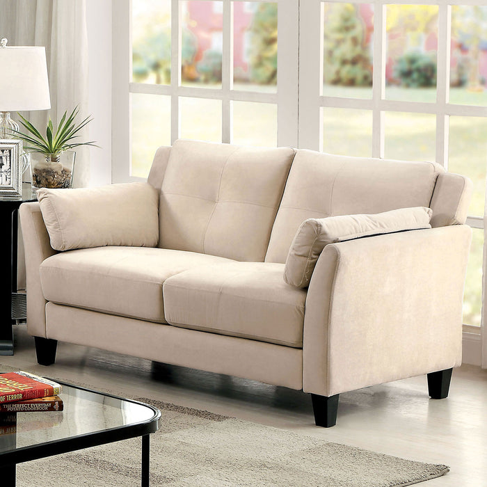 YSABEL Beige Love Seat, Beige (K/D) - Canales Furniture