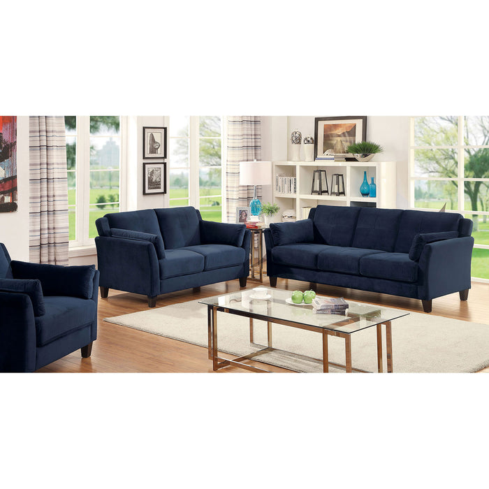 YSABEL Navy Sofa + Love Seat, Navy - Canales Furniture
