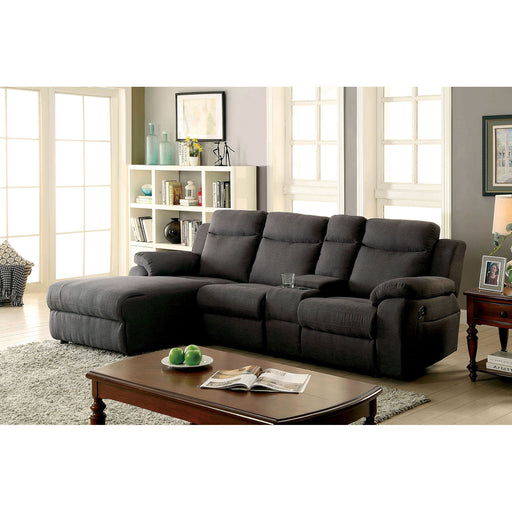 KAMRYN Gray Sectional w/ Console, Gray - Canales Furniture
