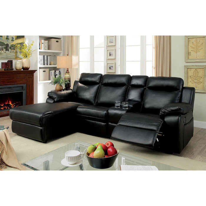 HARDY Black Sectional w/ Console, Black - Canales Furniture