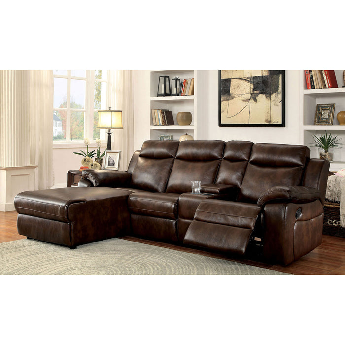 Hardy Brown Sectional w/ Console, Brown - Canales Furniture