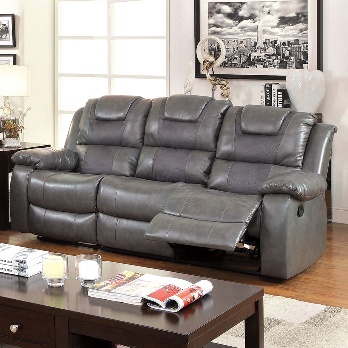 GRANDOLF Gray Sofa w/ 2 Recliners & Drop-Down Table, Gray - Canales Furniture