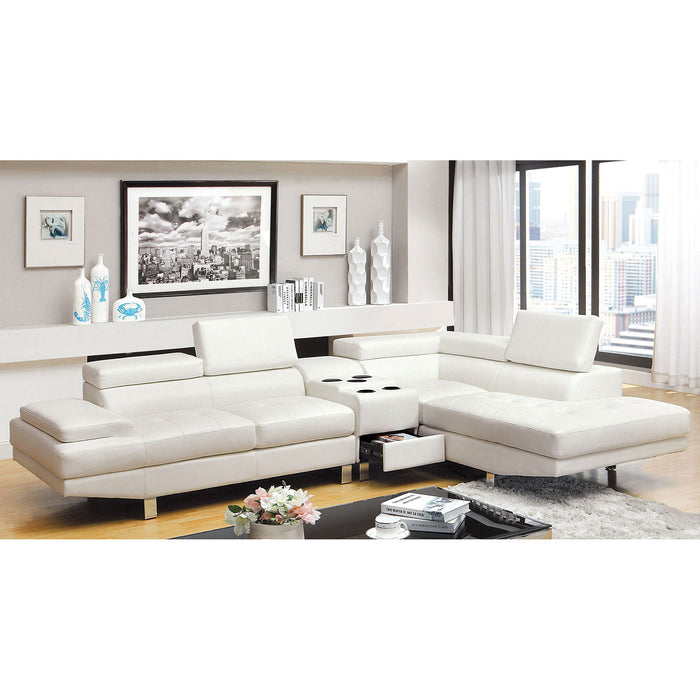 Kemina White Sectional, White - Canales Furniture