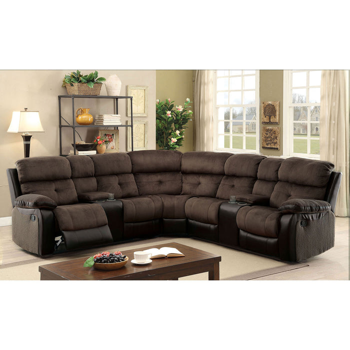 Hadley II Brown/Black Sectional w/ 2 Consoles - Canales Furniture