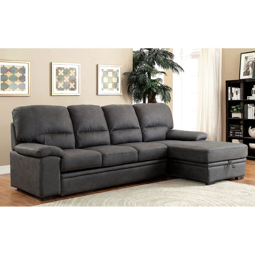 ALCESTER Graphite Sectional w/ Sleeper, Graphite - Canales Furniture