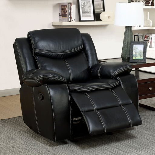 GATRIA Black Recliner - Canales Furniture