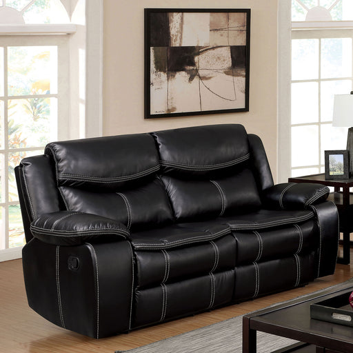 GATRIA Black Love Seat w/ 2 Recliners - Canales Furniture