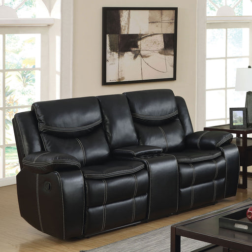 GATRIA Black Console Love Seat w/ 2 Recliners - Canales Furniture