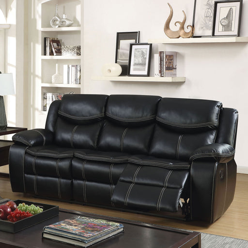 GATRIA Black Sofa w/ 2 Recliners - Canales Furniture