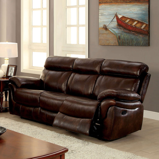 KINSLEY Brown Sofa w/ 2 Recliners - Canales Furniture
