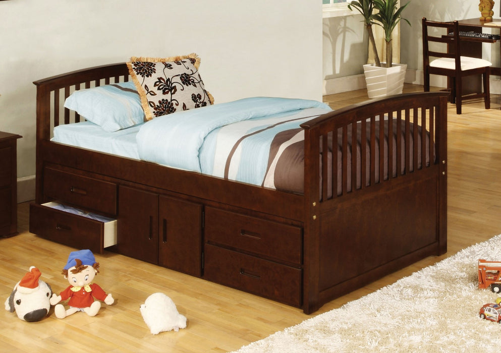 Caballero Dark Walnut Captain Twin Bed w/ 4 Drawers + Storage - Canales Furniture