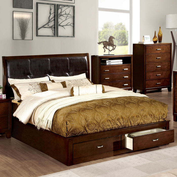 Enrico III Brown Cherry Cal.King Bed - Canales Furniture