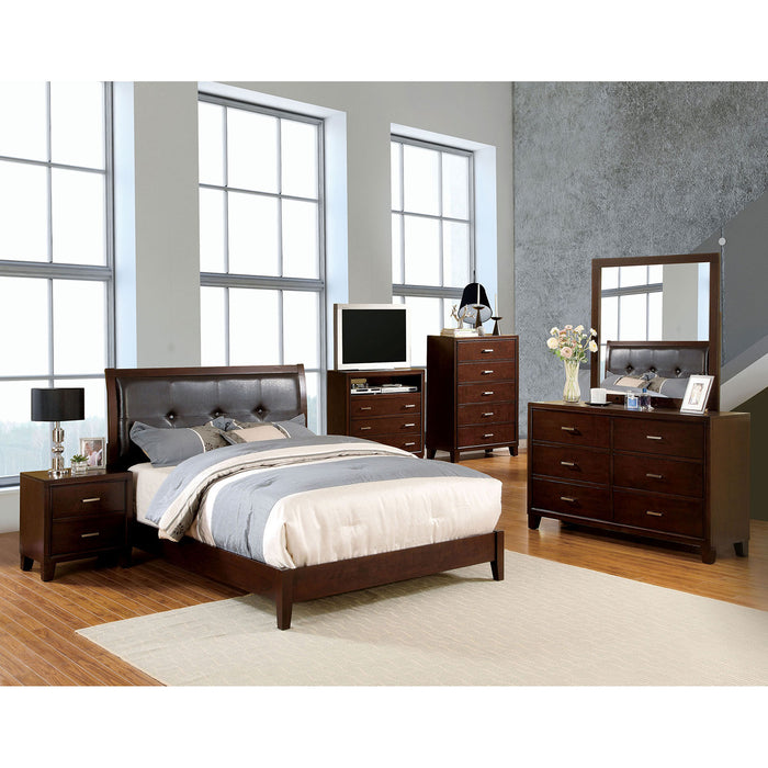 Enrico I Brown Cherry 5 Pc. Queen Bedroom Set w/ 2NS - Canales Furniture