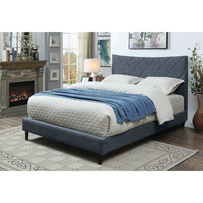 Estarra Dark Blue Queen Bed - Canales Furniture