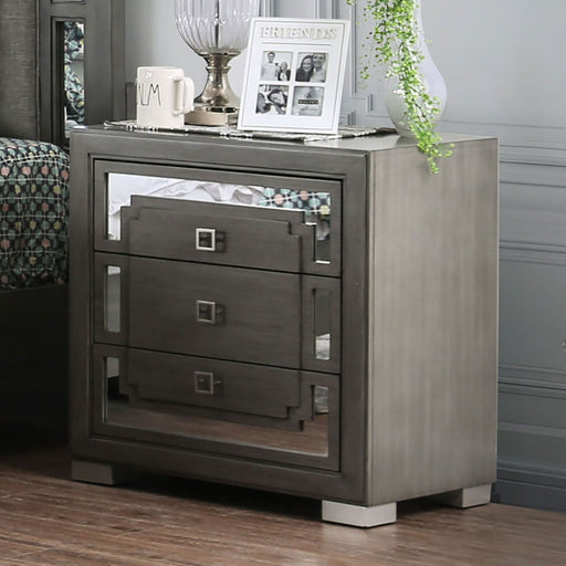Jeanine Gray Night Stand w/ USB Outlet - Canales Furniture