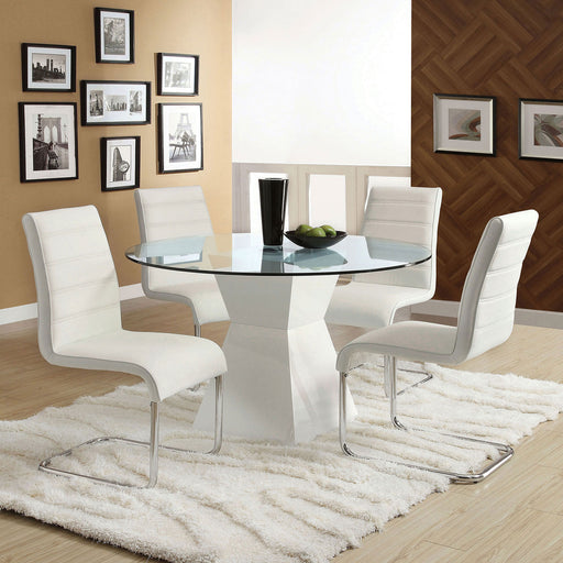 Mauna White Round Dining Table - Canales Furniture