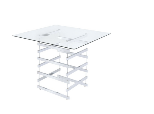 Nadie Counter Height Table Chrome & Clear Glass - Canales Furniture