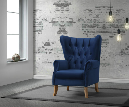 Adonis Navy Blue Velvet Accent Chair - Canales Furniture
