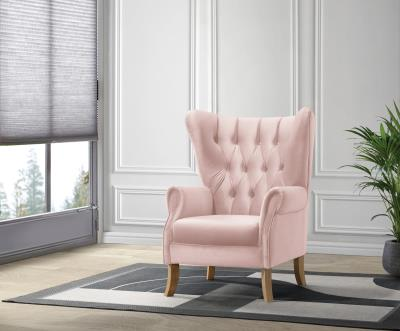 Adonis Blush Pink Velvet Accent Chair - Canales Furniture
