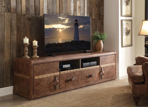 Aberdeen Retro Brown Top Grain Leather TV Stand - Canales Furniture