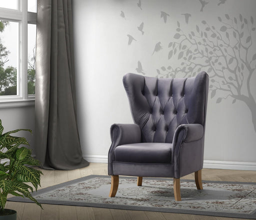 Adonis Gray Velvet Accent Chair - Canales Furniture