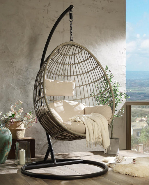 Vasant Fabric & Wicker Patio Swing Chair with Stand - Canales Furniture
