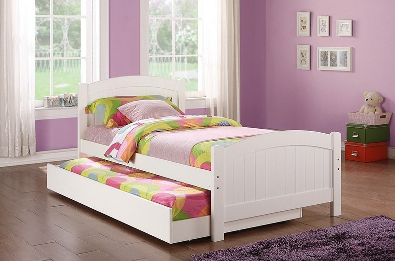 White Twin Bed With Trundle - Canales Furniture