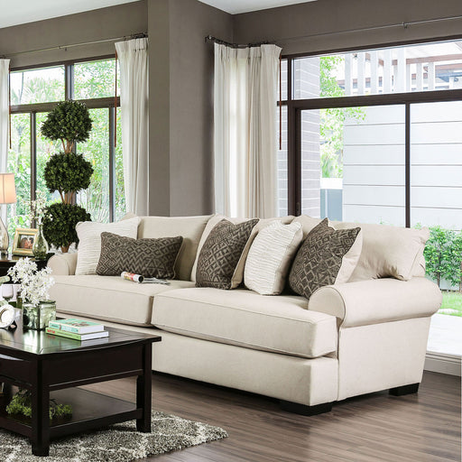 GILDA Beige/Brown Sofa, Beige - Canales Furniture