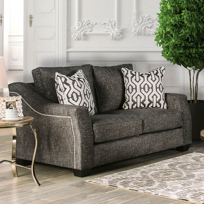 Coralie Charcoal Love Seat - Canales Furniture