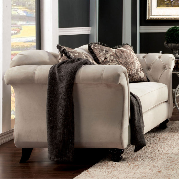 Antoinette Ivory/Light Brown Love Seat, Beige - Canales Furniture
