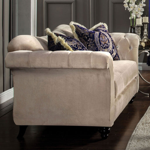 ANTOINETTE Light Mocha/Blue Love Seat, Light Mocha - Canales Furniture
