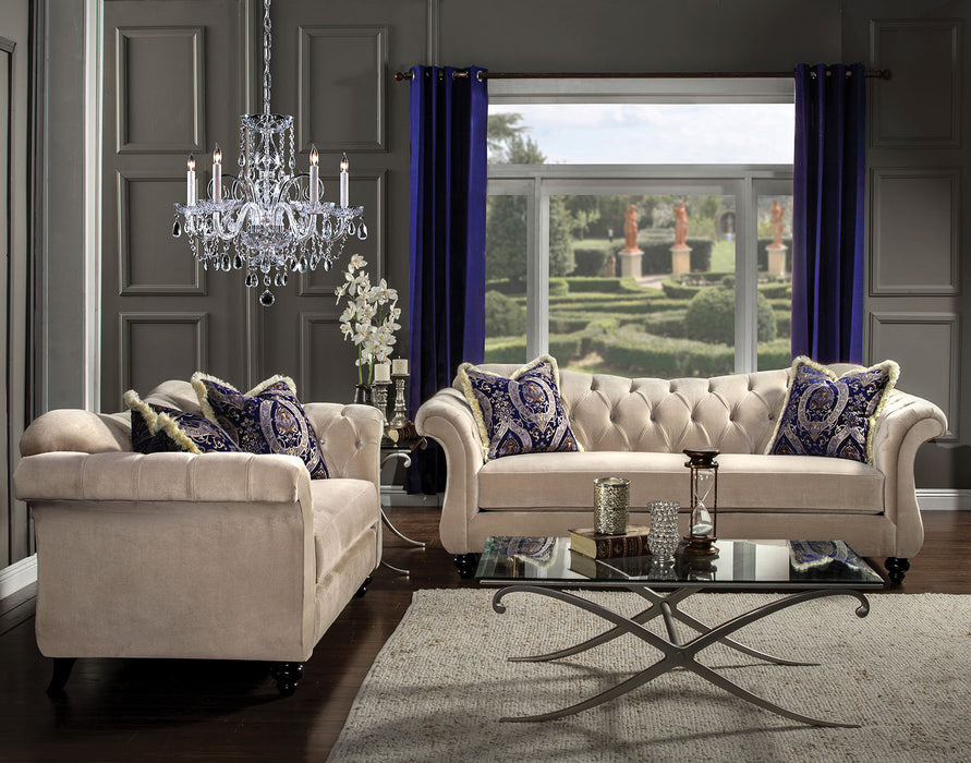 ANTOINETTE Light Mocha/Blue Sofa + Love Seat - Canales Furniture