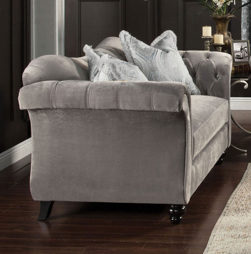 ANTOINETTE Dolphin Gray Love Seat, Dolphin Gray - Canales Furniture